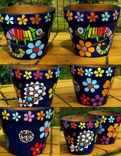 mosaic flower pot. cute chameleons