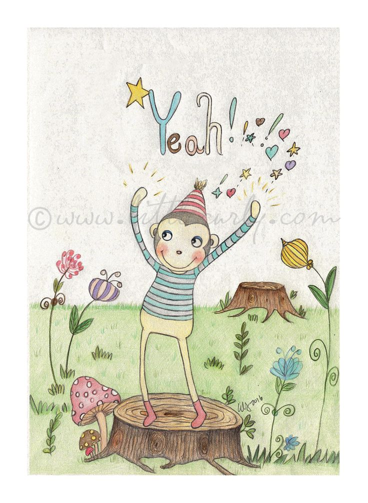 Yeah, I'm MONKEY boy!  Whimsical illustrations prints !