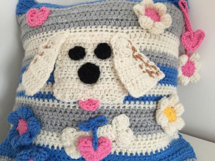 Puppy Dog knitted/crochet Cushion Couch Pillow, blue cream grey Unique Gift