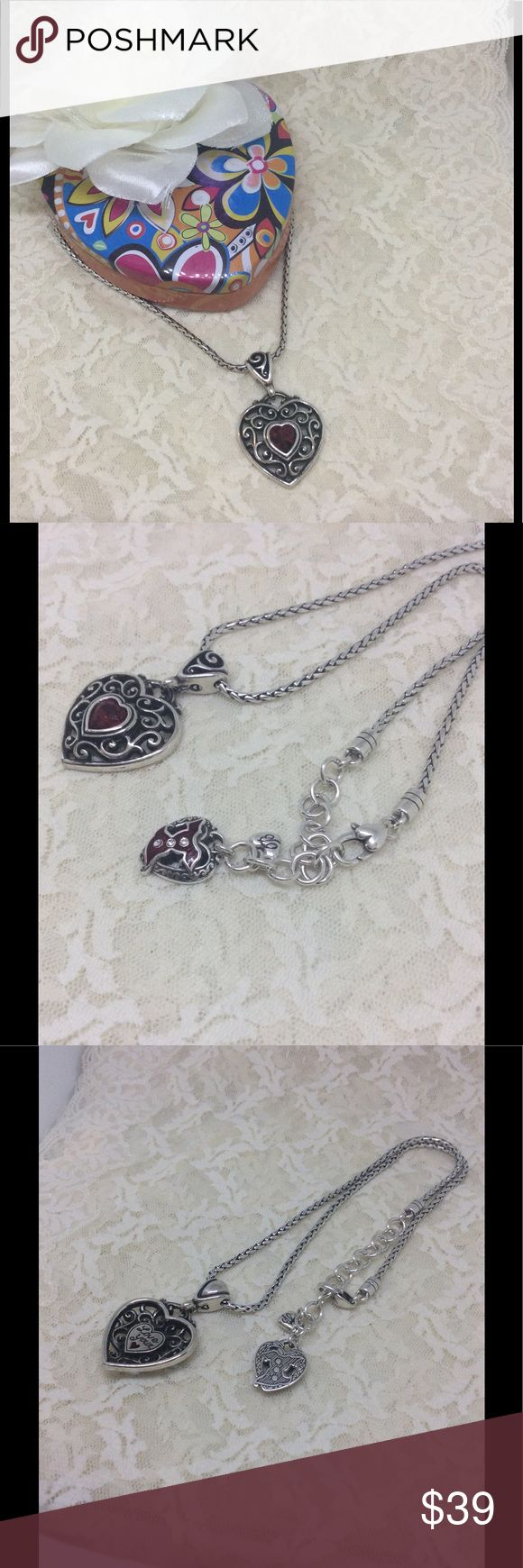 """❤️ Brighton """"Go Red"""" Retired Silver & Red Necklace RARE necklace, made for women with heart disease. Has an extender, reversible pendant """"love your ❤️"""". Tin not included. Look at our other items for bundle savings!!!! Brighton Jewelry Necklaces"""