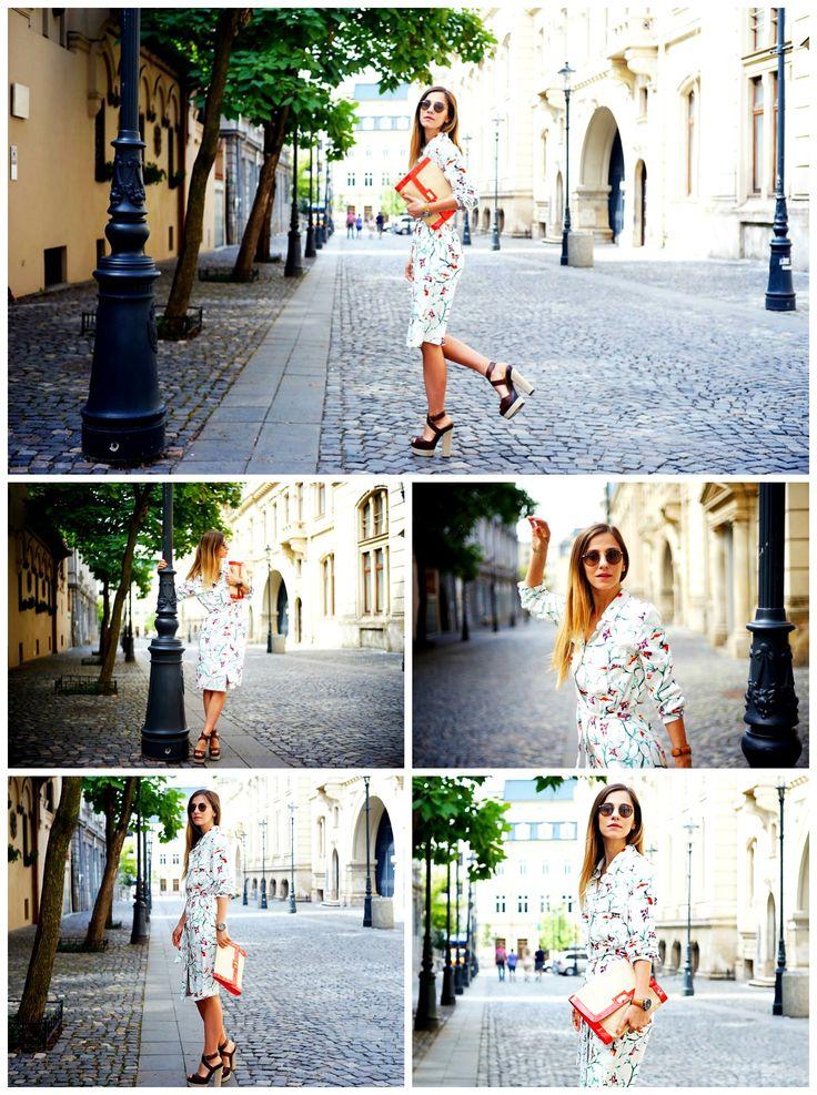 Let's talk Fashion with Dana Rogoz wearing our Must Have printed shirt dress. #ss2015 #shirtdress #DanaRogoz #streetstyle look #prints