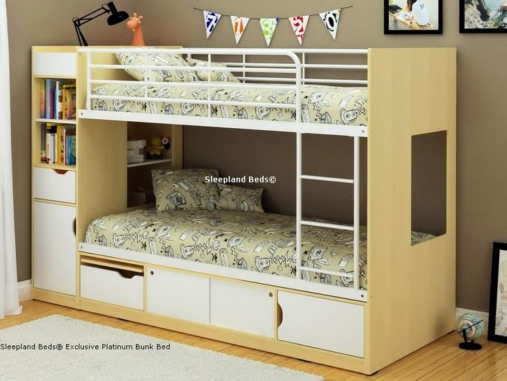 Modern Storage Bunk Bed - Cameo Platinum Beech & White Wooden Bunkbed
