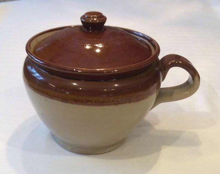 Antique Stoneware Pottery Brown Baked Bean Pot Crock Lid