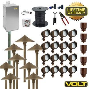 brass lifetime deluxe led landscape lighting kit 16 spot 8 path - Volt Landscape Lighting