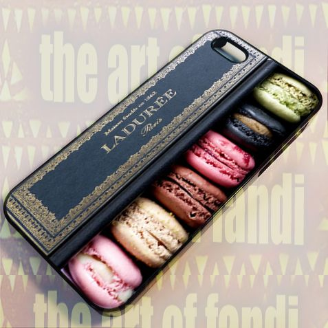 Laduree Macaron For iPhone 5/5c/5s Black Rubber Case