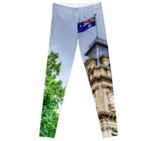 The Clock Tower and Australian Flag at the Historic Town Hall - Bendigo, Victoria Leggings