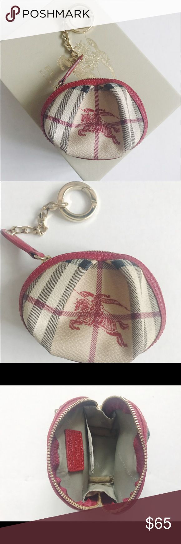 Burberry Coin Purse with Keyring Authentic Burberry Haymarket Coin Purse with leather red trim and gold keyring. Approximately 4 inches long. Gently used. Can be attached to Handbag or used by itself.  Canvas material. Burberry Accessories Key & Card Holders