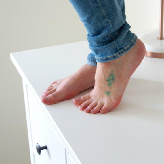 Tatuaje temporal de sirena | Escamas de sirena del tatuaje temporal | Piel de…