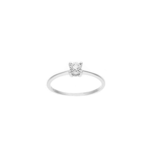 Bague Solitaire Véritables Diamants 0,035 Carats  ( Illusion 0,25 Carats  )