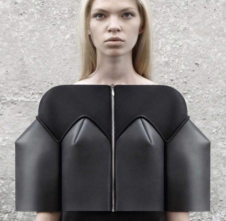 Sculptural Fashion - neoprene dress with structured silhouette; innovative fashion design // DZHUS