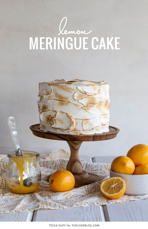 Lemon Meringue Cake with Lemon Curd & Toasted Meringue Frosting by Tessa Huff for The Cake Blog