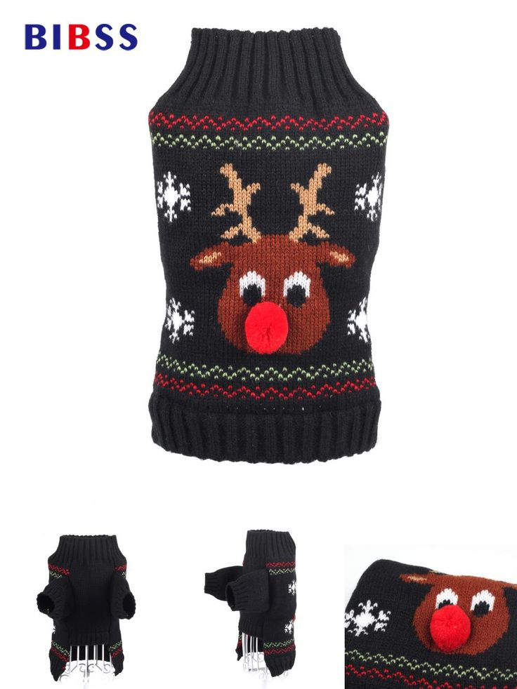 [Visit to Buy] Winter pet dog clothes Warm red nose Dog Costume Thicker Coat dog clothes for small dogs Cute Puppy with 4 size #Advertisement