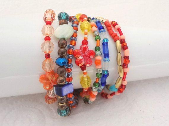Boho Bracelet Set of 8 - Multi Colours - beaded stretch bracelets - handmade in New Zealand #23