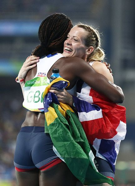 Eilidh Doyle and Christine Ohuruogu of Great Britain react after winning bronze…