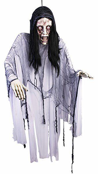 Horror Hänge Deko Bloody Mary Halloween Schocker Frauenleiche mit Stoffgewand ca 1,8 Meter riesig