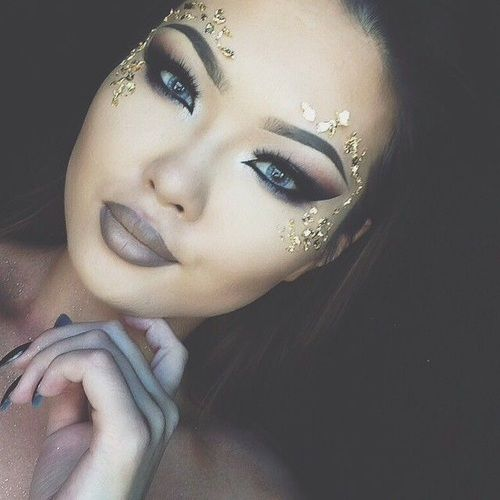Imagine festival, gold, and makeup