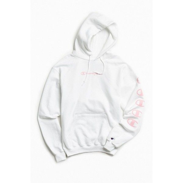 Champion Repeat Eco Hoodie Sweatshirt ($64) ❤ liked on Polyvore featuring tops, hoodies, white hoodie, pullover hoodies, hoodie pullover, hooded sweatshirt and white tops