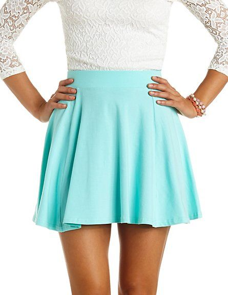 Fashion style Skater teal skirt outfit photo for girls