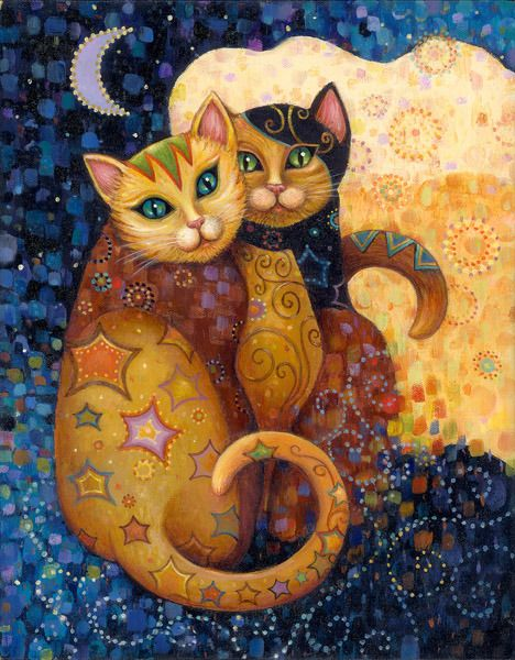 """Moonlighting"" by Marjorie Sarnat, from the series Kleo Kats™ – Inspired by the diverse elegance of cats, the Kleo Kats™ are a profusion of patterns, textures, rich color, & jeweled accents"