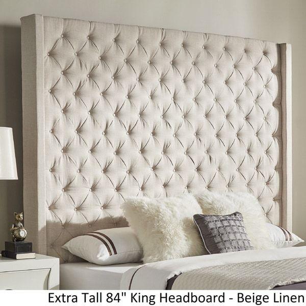 Tall Nailhead Tapered Leg Bed Linen Weave Sophisticated Bedroom Beige Bedroom Decor Room Decor Bedroom Rose Gold