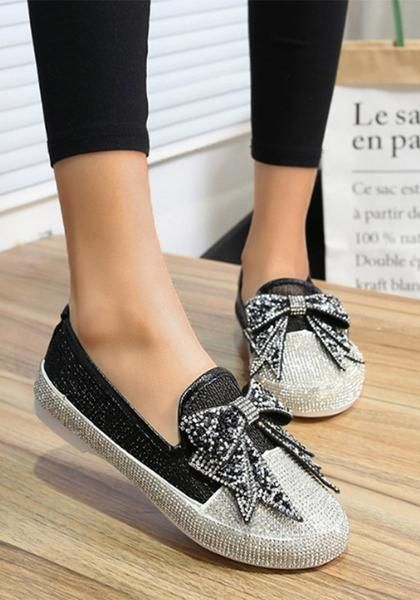5ed6af403 Black Round Toe Flat Bow Rhinestone Casual Ankle Shoes in 2018 ...