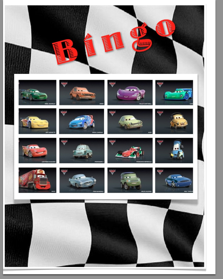 """Cars 2 Birthday party game... Cars Bingo!  you can find most of the Cars 2 characters at http://screenrant.com/cars-2-characters-guide-pauly-113526/  pulled images right into my Pages (it's Mac's version of Word) document and lined them up, could have put a 'Free"""" space but decided not to. Laminated the sheets so my boys could play it again after the party was over and they request it quite frequently. Since it was laminated we used dry erase markers to """"X"""" the car that was called out."""