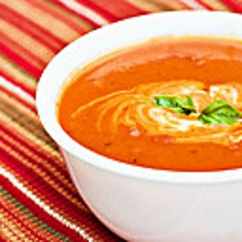 CHUNKY TOMATO CREAM SOUP--I used fat free half & half. Not as good but ...