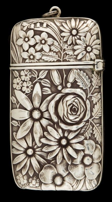 Whiting sterling silver matchsafe, 1890s.