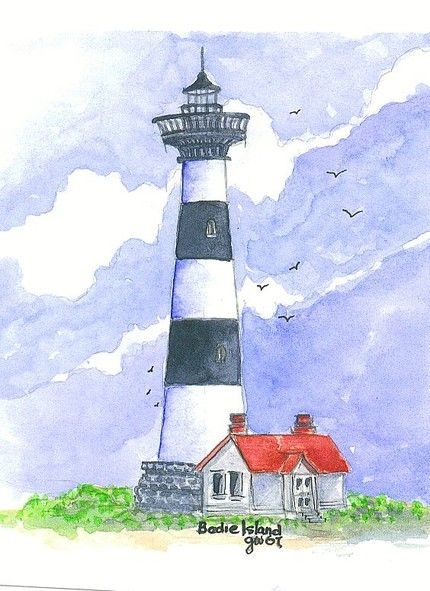 """I have 25 limited edition 5"""" x 7"""" prints, numbered and signed by the artist (Glenna Vasoli) of an original watercolor painting of the Bodie Lighthouse in Nags Head, NC.  Each limited edition is printe"""