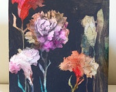 Carnation painting on wood panel.  Annie Koelle