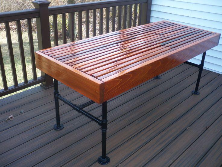 diy outdoor table with cooler. Cedar Outdoor Table With Built-in Wine \u0026 Beer Cooler Metal Pipe Legs. Diy I