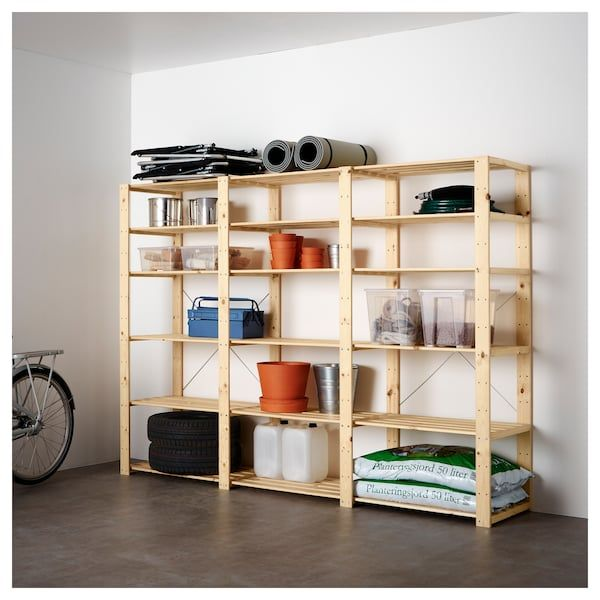IKEA HEJNE Softwood 3 Section Shelving Unit
