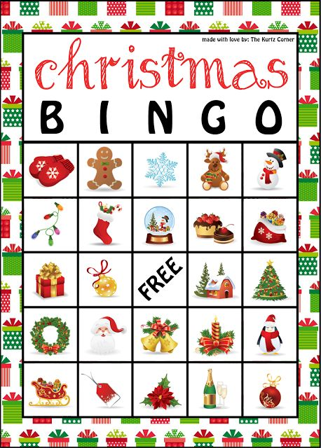 Free Printable Christmas BINGO Cards from The Kurtz Corner @Julie Ingram Robinson