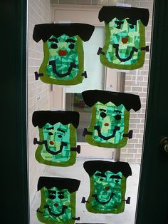 Made these today! Was great project. As it was a Kindergarten class, I prepared everything before hand(hair, green outline, nose, mouth, eyes, smiles and screws). Turned out great!- Frankenstein sun catchers! Halloween art projects for kids  - repinned by @PediaStaff – Please Visit ht.ly/63sNtfor all our ped therapy, school & special ed pins