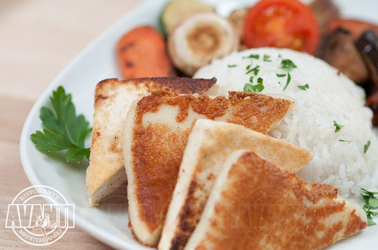 Grilled cheese slices (Grilled mozzarella or feta cheese with fried vegetables and jasmine rice)