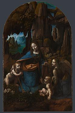 Leonardo da Vinci, Virgin of the Rocks, ca. 1491.  Like this one better than the Louvre version. Look at how the light plays off the angel's face! Breathtaking.