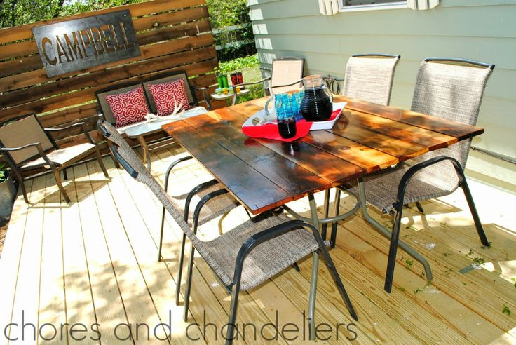 New patio table on old base (base off a broken glass top ...