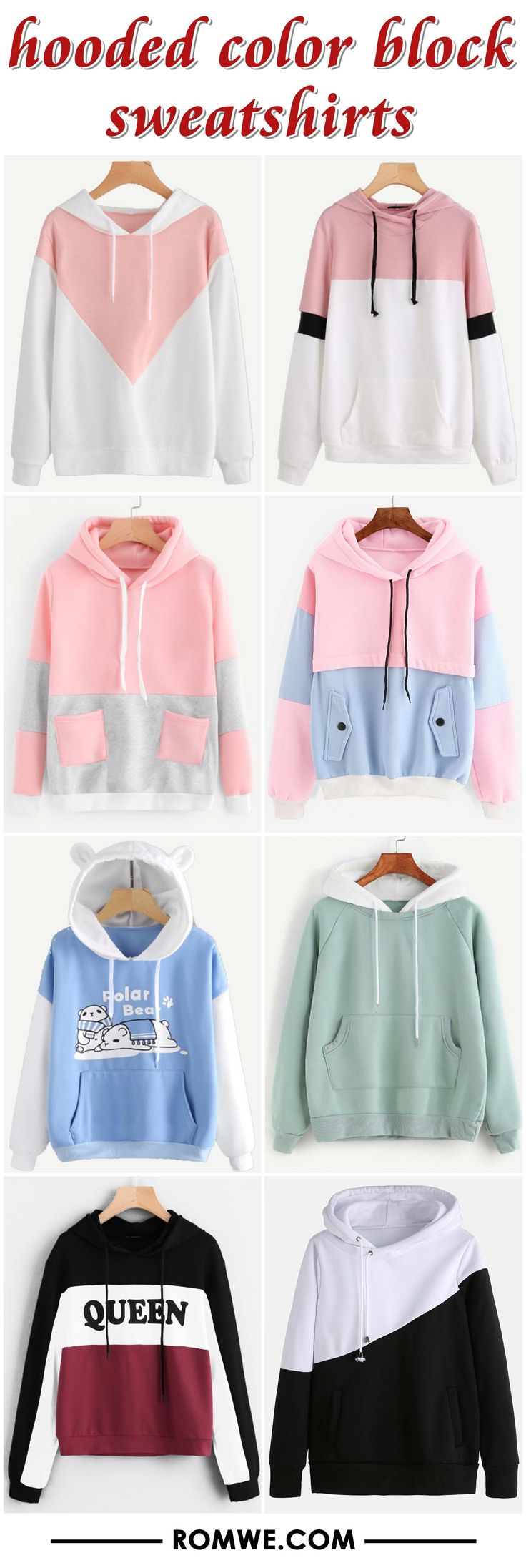 hooded color block sweatshirts from romwe.com