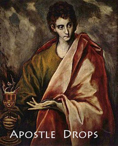 NIEUW! Apostel Druppels  -Apostel Bartolomeüs Bij zenuw~ en huidziekten en tegen krampen.  -Apostel Jacobus de Meerdere (bijgenaamd Boanerges, zoon van Zebedeüs) Bij reuma en artritis en voor geestelijke groei  -Apostel Johannes (bijgenaamd Boanerges, zoon van Zebedeüs) Bij brandwonden, voetwonden, epilepsie en verlicht deperessieve gevoelens.