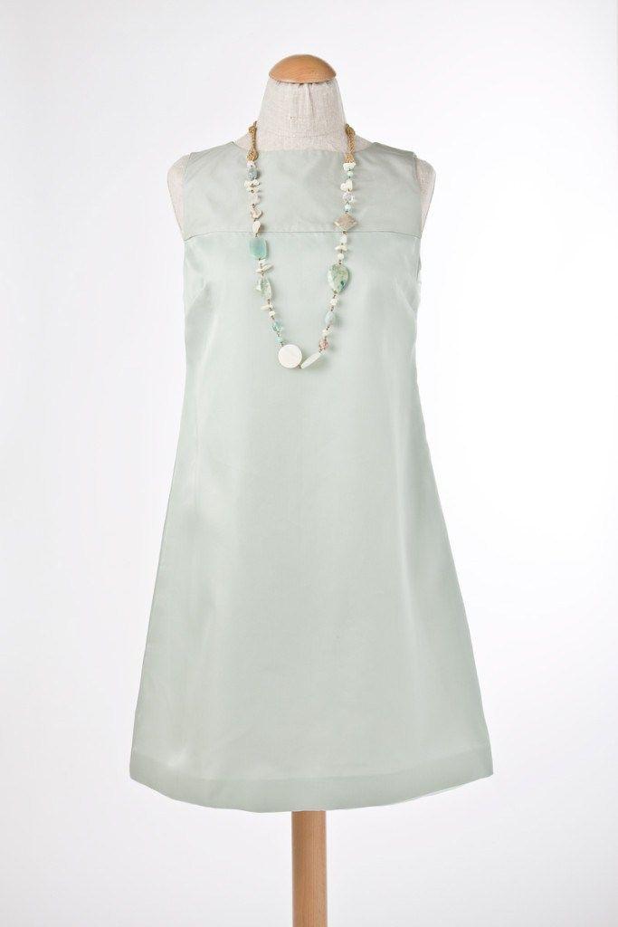 Abito modello Peonia Vestibilità normale, a trapezio; taglia italiana: 42 – 44, colore: verdeacqua; tessuto: taffetà e organza di pura seta;