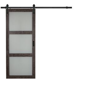 Iron-Aged Grey 3-Lite Frosted Glass Barn Door (Common: 36-in x 84-in; Actual: 36-in x 84-in)