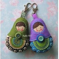 matryoshkas-love the embroidery on the felt, double button and bead work