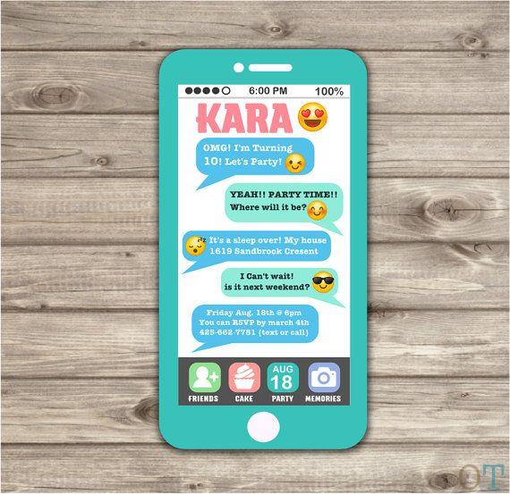 Cell Phone Emoji Sleep Over Teen Invitation tween 12th