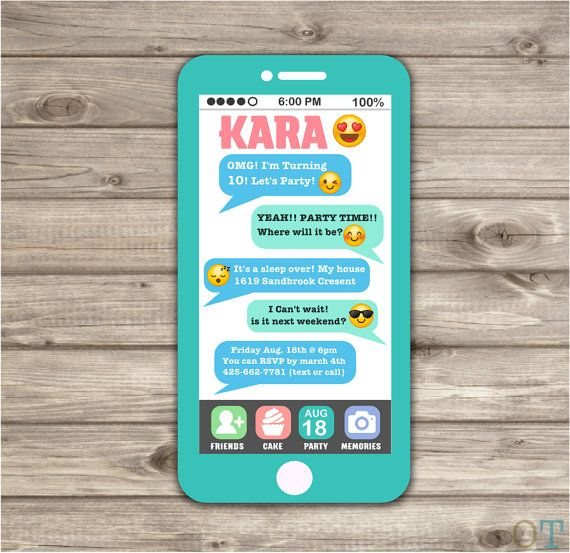 Teléfono celular Emoji dormir sobre Teen invitación por cardmint