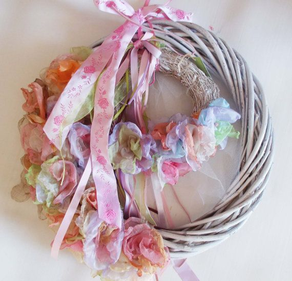 double wreath with pastel flowers and ribbons  more to see on: https://www.etsy.com/shop/mademeathens #wreaths #fabric #pastels