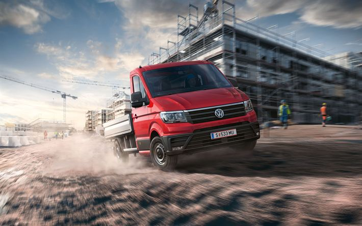 Download wallpapers Volkswagen Crafter, 2018, cargo truck, construction site, builders, new commercial vehicles, light truck, Volkswagen