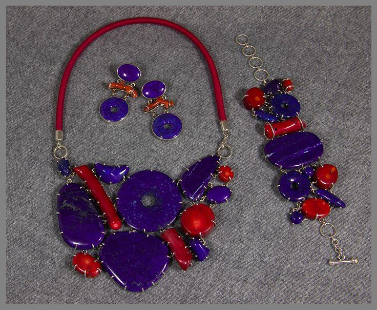 Lapis Lazuli, Coral Jewellery - Handmade set
