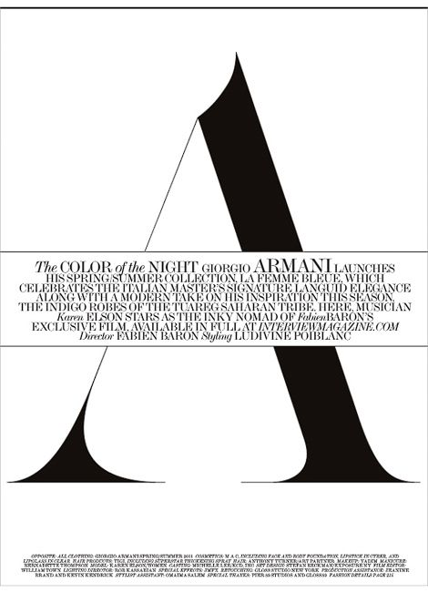 Interview Magazine, The Color of the Night, March 2011 | typography / graphic design: Inspiration @ interviewmagazine |