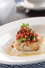 French fish with Eggplant Puree