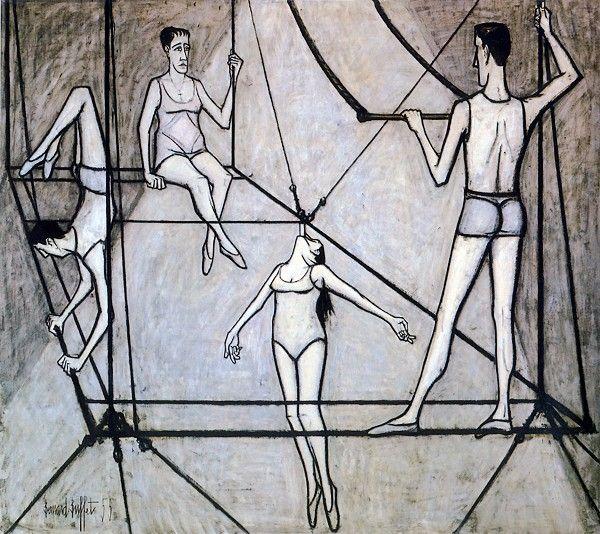 Bernard Buffet, Le cirque : Acrobates - 1955 oil on painting 260 x 295 cm  ° Musée d'art moderne de la Ville de Paris